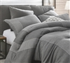 Volume Gray Oversized Twin Comforter - 100% Yarn Dyed Cotton