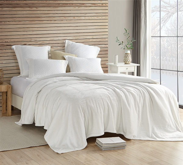 Luxurious Plush Twin Extra Large Bedding Wait Oh What Coma Inducer Off White Blanket for Twin or Extra Long Twin Bed