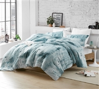 One of a Kind XL Twin, XL Queen, or XL King Comforter Set Designer Moonrise Artistic Brucht Blue and Gray Oversized Bedding