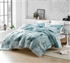 Oversized Queen XL Comforter for Queen or Queen XL Bed in Artistic Blue and Gray Fabric and Soft Microfiber Material