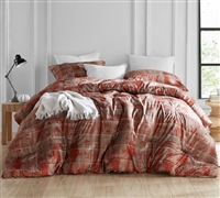 Red Copper and Brown Designer Printed Oversized Comforter with Softest Microfiber for Twin XL, Queen, or King Sized Bed
