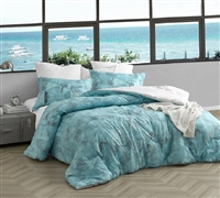 Oversized Twin XL, Queen XL, or King XL Comforter Tribeca Brucht Designer Steel/Aqua Extra Large Bedding