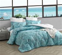 Super Soft Microfiber Oversized Designer Bedding for Queen or Queen XL Bed Set Artistic Blue and Gray Print