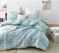 Mint Green Striped Stylish Oversized Comforter for Queen XL Bed Set Super Soft Cotton