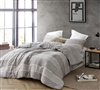 Stylish Designer Gray Queen XL Comforter Set Greyson Soft Cotton Bedding with Gray Stripes