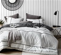 Unique Designer Twin Extra Large Comforter Kappel Black and White Stripes Oversized Twin Bedding Set