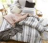 Designer Pink and Navy Gray Striped Oversized Cozy Cotton Twin XL Comforter Set