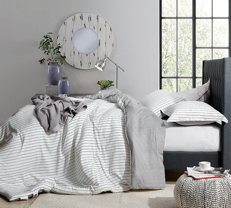 Extra Large Twin Queen Or King Bedding Set The Landon Designer Cotton Oversized Comforter With Black And White Design