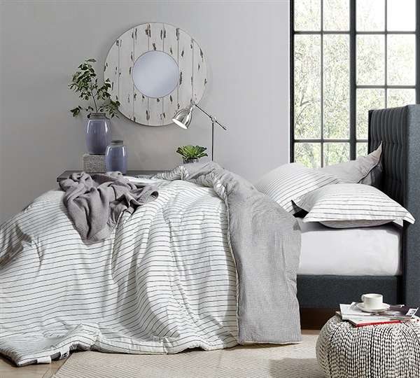Easy to Match Designer Twin XL, Queen XL, or King XL Comforter The Landon Black and White Ultra Cozy Cotton Bedding