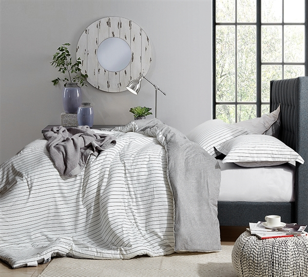True Oversized King Bedding The Landon Designer King XL Comforter with Black and White Design