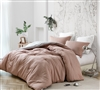 Designer Oversized Cotton Twin or Twin XL Bedding in Rustic Pink Grid Pattern Comforter Set