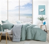Stylish Grid Printed Green and Light Gray Oversized Twin XL Comforter made of Soft Cotton for Twin or Twin XL Bed