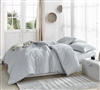 Soft Yarn Dyed Cotton Twin XL, Queen XL, or King XL Comforter Macha Slate Gray Oversized Bedding with Stripe Design