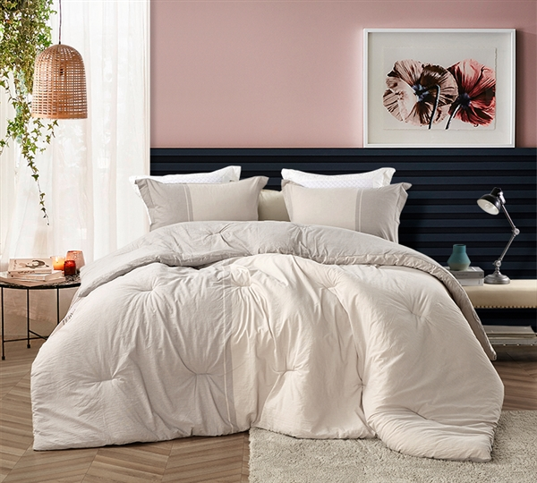 Easy to Match Gray and Cream Oversized King Comforter with Warm Thick Inner Fill and Cozy Cotton Material