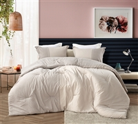 Neutral Queen XL Bedding Decor Essentials Desert and Cream Designer Half Moon Oversized Queen Comforter Made with Soft Cotton