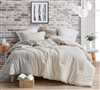 Extra Large Queen Comforter Half Moon Gray and Cream Queen XL Designer Bedding Made with Yarn Dyed Cotton