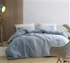 Designer Twin XL, Queen XL, or King XL Bedding Half Moon Blue Hues Extra Large Comforter Made with Yarn Dyed Cotton
