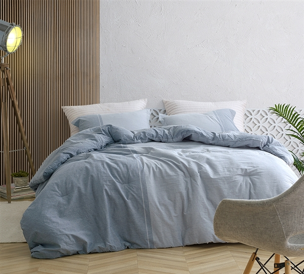 Easy to Match Designer Two Toned Blue Extra Large Comforter for Twin XL Bed Set with Super Soft Cotton
