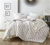 Designer Tan and White Striped Pattern Oversized Comforter for Twin XL, Queen, or King Bed with Soft Cotton