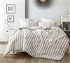 Oversized King Comforter in Stylish Neutral Tan Striped Design that is Easy to Match and Super Soft Cotton Material
