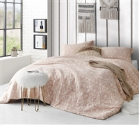 Unique Designer Print Peach Colored Softest Cotton Oversized Comforter for your Twin XL, Queen, or King Sized Bedding