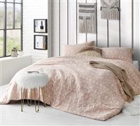 Designer Statement Sepia Peach Printed Oversized Soft Cotton Comforter for Queen or Queen XL Bed