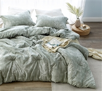 Unique Natural Green Toned Soft Cotton Twin XL, Queen, or King Comforter Oversized Comfortable Decorative Bedding