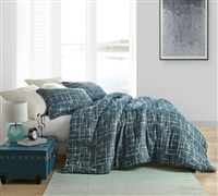 Oversized Unique Teal Blue Brushstroke Printed Twin XL, Queen, or King Comforter with Cozy Cotton