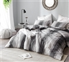 Neutral Gray Tones Striped Design with Cozy Cotton and Thick Inner Fill Oversized King Comforter