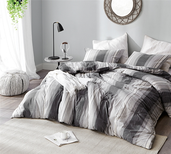 Stylish Charcoal Gray and White Striped Designer Oversized Queen XL Comforter Set for Queen Bed