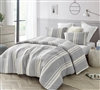 Extra Large King Comforter in Softest Machine Washable Cotton Material and Stylish Gray Striped Pattern