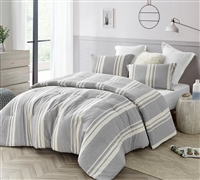 Easily Matched Extra Large Queen Gray Cotton Comforter Set with Designer Striped Pattern