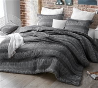 Extra Large King Comforter Set with Unique Black and White Textured Design and Super Soft Microfiber Material