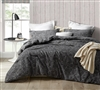 Stylish Textured Black Designer Queen XL Comforter with Soft Microfiber Material Oversized for Queen Bed