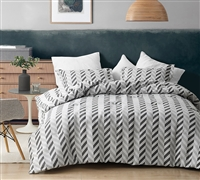 Extra Large King Comforter Set Magnus Grays Microfiber Jacquard Oversized King Bedding with Unique Chevron Design