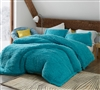 Oversized Queen Comforter in Unique Aqua Color and Softest Luxury Plush Material with Thick Polyester Fill