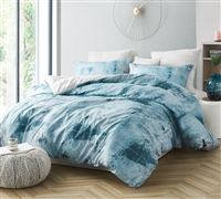 Unique Artistic Blue and Gray Oversized Twin XL, Queen, or King Duvet Cover with Soft Microfiber Material