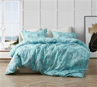 Supersoft Microfiber Stylish Blue and Gray Designer Twin XL, Queen XL, or King XL Duvet Cover