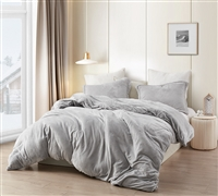 Coma Inducer Twin XL Duvet Cover - Wait Oh What - Tundra Gray
