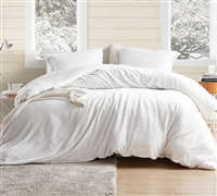 Soft Plush Oversized Queen Duvet Cover in Easy to Match Off-White Shade with Stylish Matching Shams