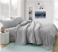 Softest Thick Luxury Plush Extra Large Twin Sheet Set in Neutral Stylish Gray Color