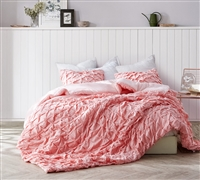 Oversized Twin XL Comforter with Textured Layered Pleats Details Beautiful Pink Strawberry Quartz Unique Twin Extra Long Bedding