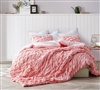 Beautiful Pink Queen XL Bedding Decor Stylish Strawberry Quartz Layered Pleats Cozy Queen Oversized Comforter