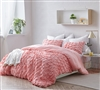 Beautiful Layered Pleats Textured Twin XL Oversize Soft Cotton Duvet Cover Strawberry Quartz Pink Stylish Extra Long Twin Bedding