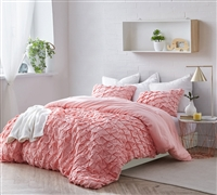 Decorative and Protective Oversized Queen Duvet Cover Beautiful Layered Pleats Strawberry Quartz Queen XL Bedding
