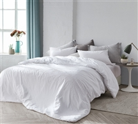 Essential Twin Extra Long Comforter with Rose Gold Details Stylish Icing White Twin XL Oversize Bedding