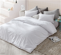 Easy to Style Cotton Oversized Queen or Queen XL Bedding Icing White Duvet Cover
