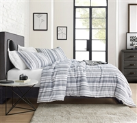 Stylish White Twin XL Oversized Duvet Cover with Unique Navy Blue Striped Detailing to Fit Twin or Twin XL Bedding with Soft Cotton