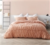 Unique Designer Apricot Colored Twin XL Duvet Cover with Elegant Ruched Detailing for Twin or Twin XL Bed