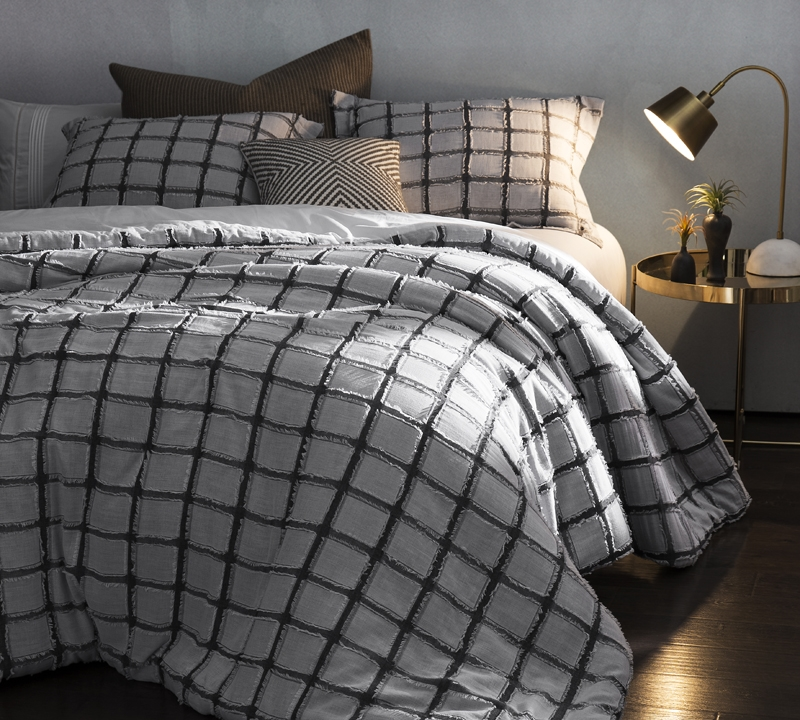 Shop Oversized King size comforters Black and white Frayed Edgings